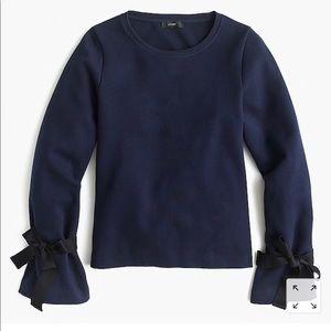 NWT JCrew tie sleeve sweatshirt navy